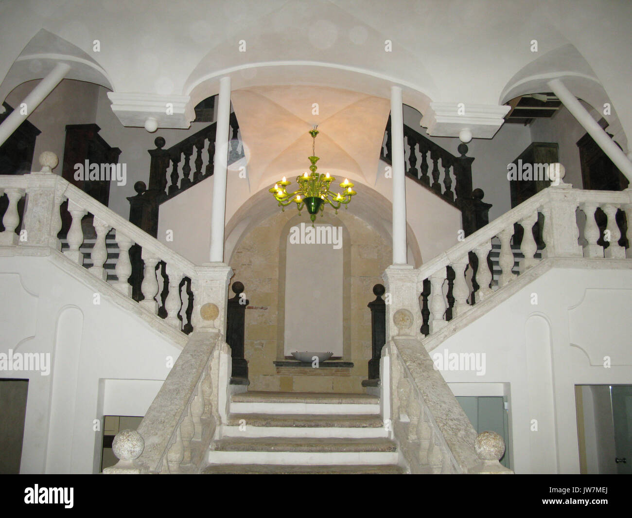A Beautiful Marble Staircase In An Old Building Stock Photo Alamy