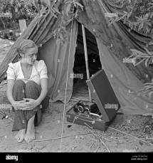 Tent Camping Black And White Stock & - Alamy