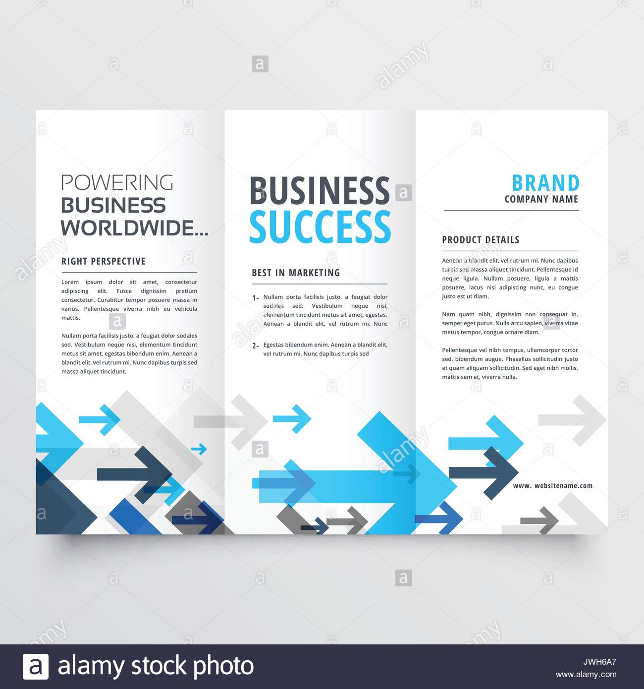 Tri Fold Brochure Design In Creative Business Arrows Style Stock