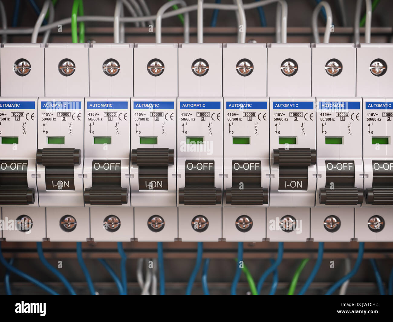 hight resolution of electric switches in fusebox many black circuit brakers in a row 3d illustration