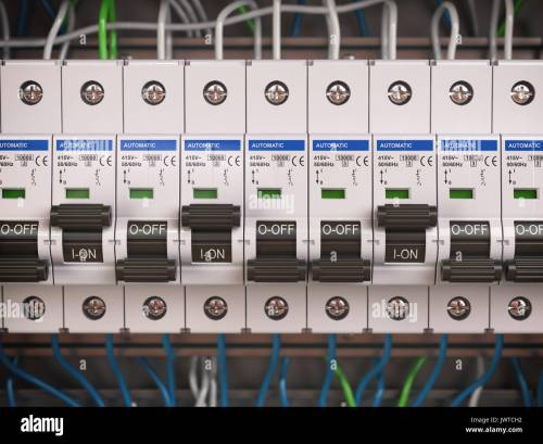 small resolution of electric switches in fusebox many black circuit brakers in a row 3d illustration