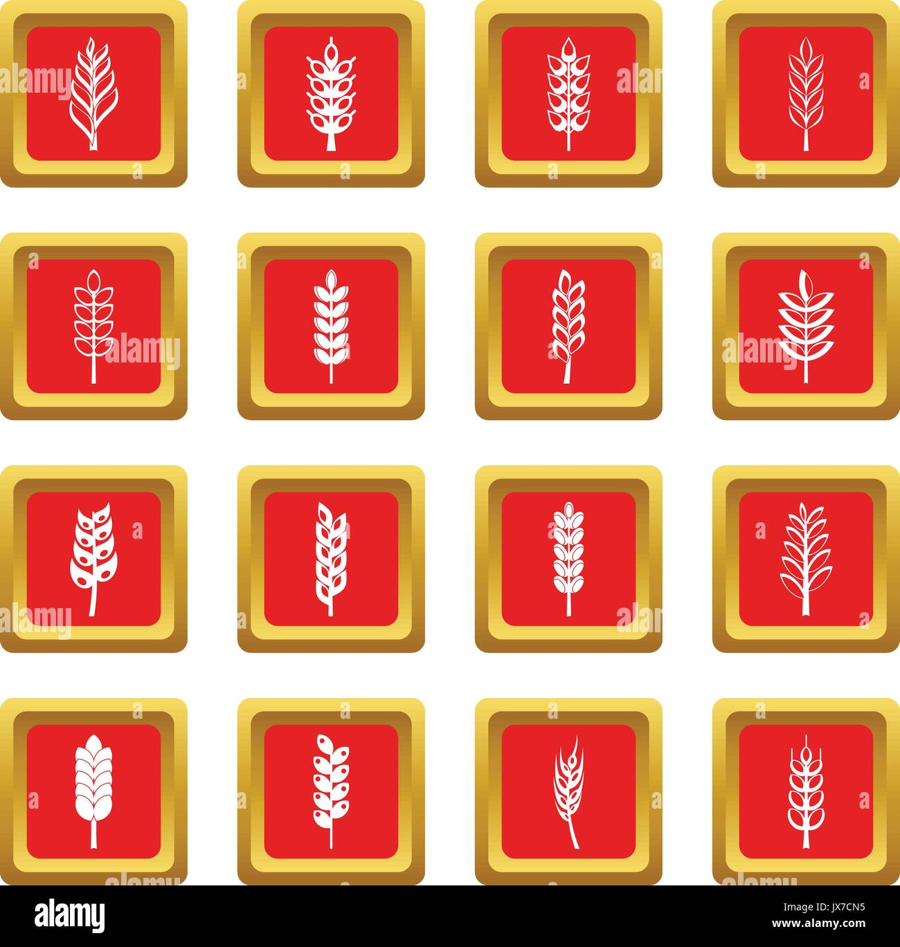 hight resolution of ear corn icons set red stock vector