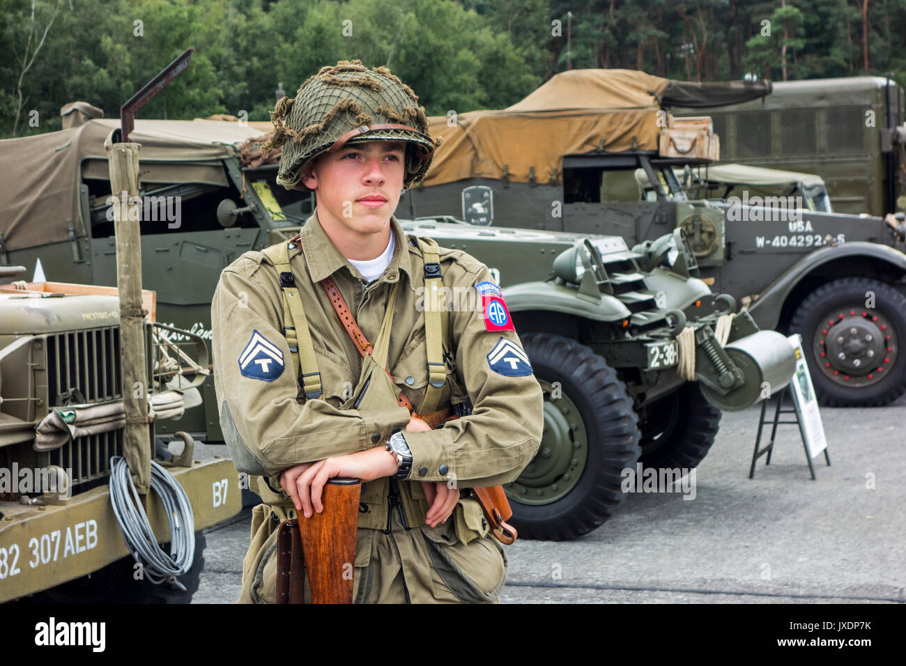 Young Re Enactor Posing In Ww2 Us Airborne Uniform With