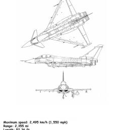aircraft blueprint of the eurofighter typhoon is a twin engine canard delta wing [ 866 x 1390 Pixel ]