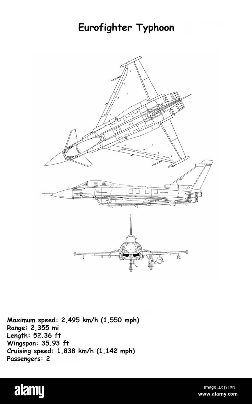 hight resolution of aircraft blueprint of the eurofighter typhoon is a twin engine canard delta wing