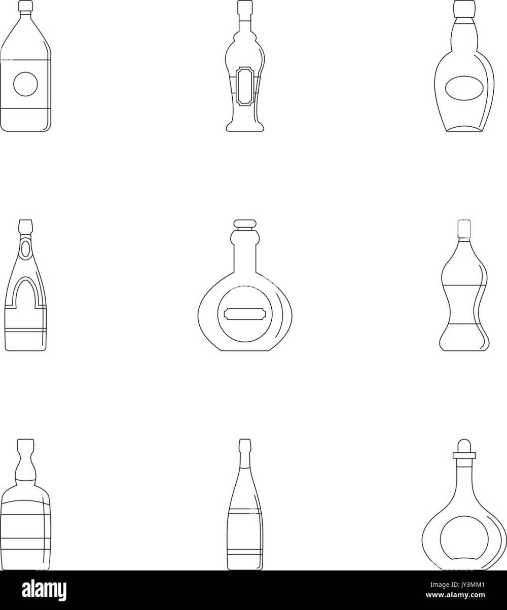 medium resolution of glass bottles icon set outline style