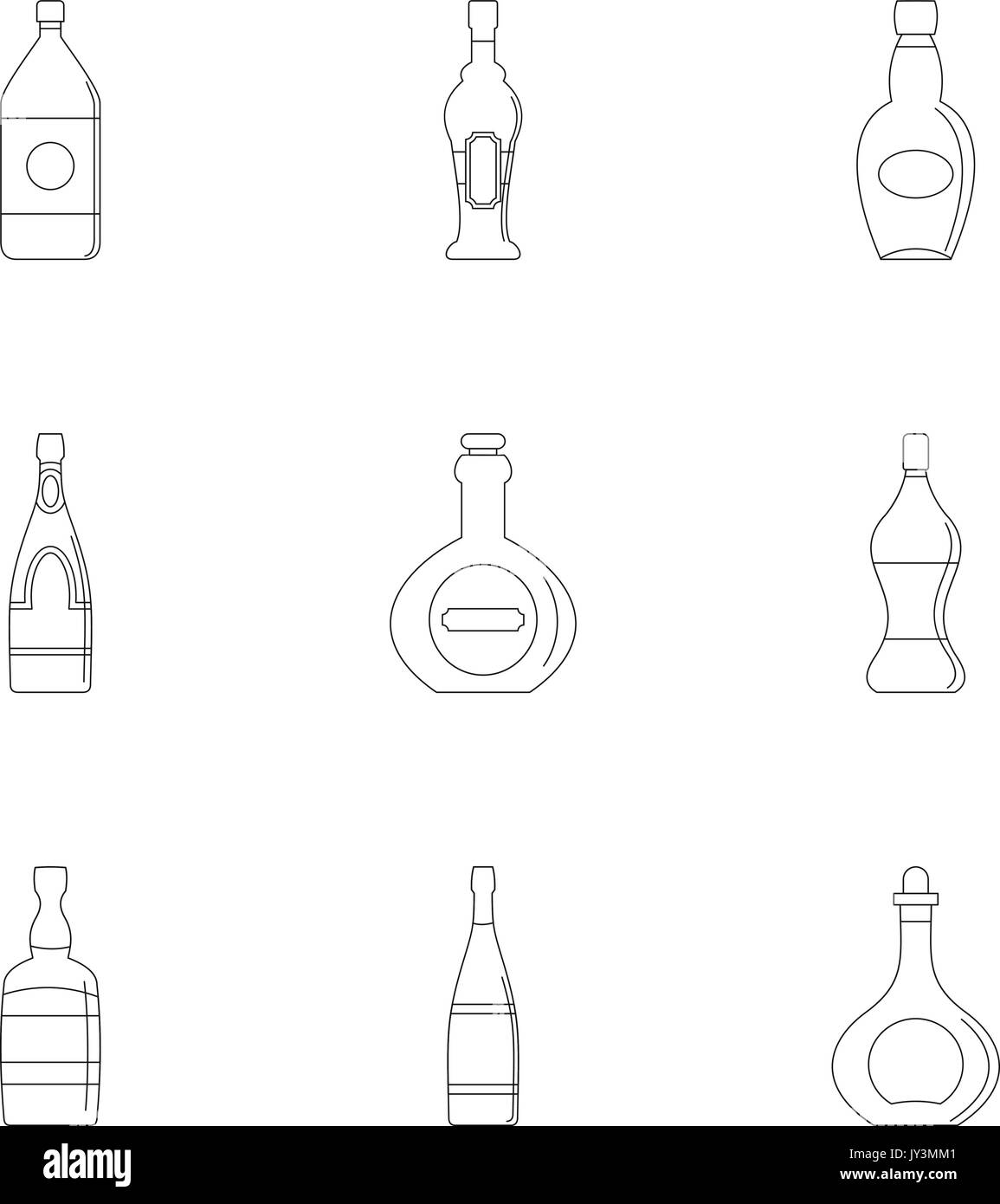 hight resolution of glass bottles icon set outline style