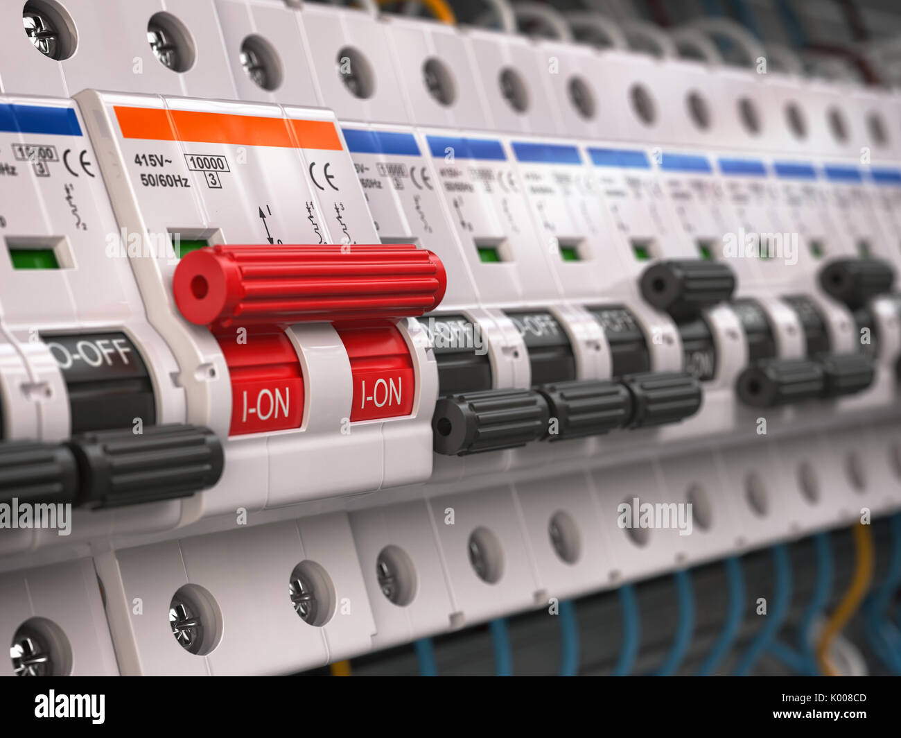 hight resolution of switches in fusebox many black circuit brakers in a row in position off and one