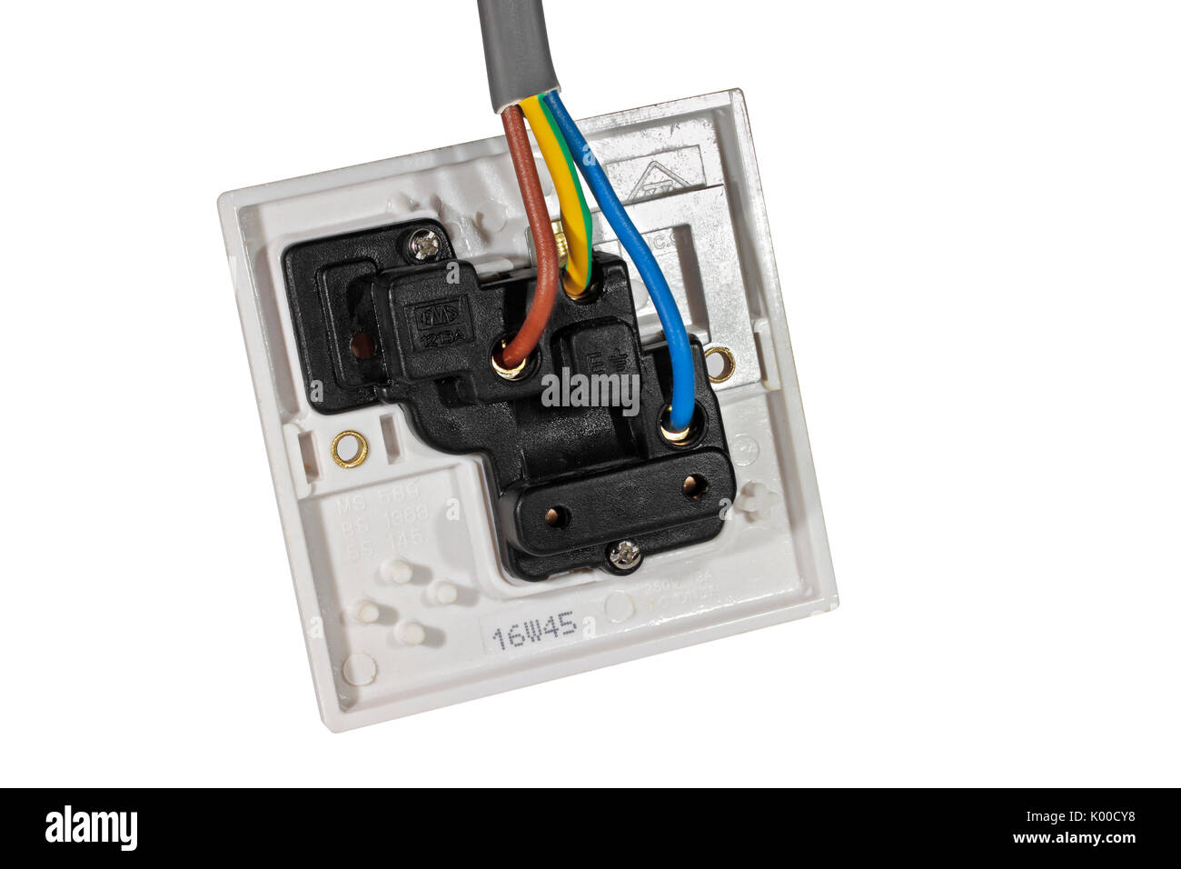 hight resolution of a 250v 13a electrical socket outlet viewed from behind showing wiring isolated on a white background