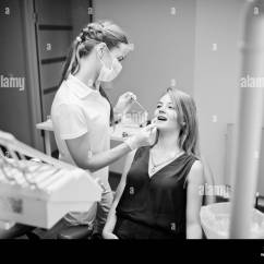Portable Dental Chair Philippines Minnie Mouse High Decorations Dentist Black And White Stock Photos Images Alamy