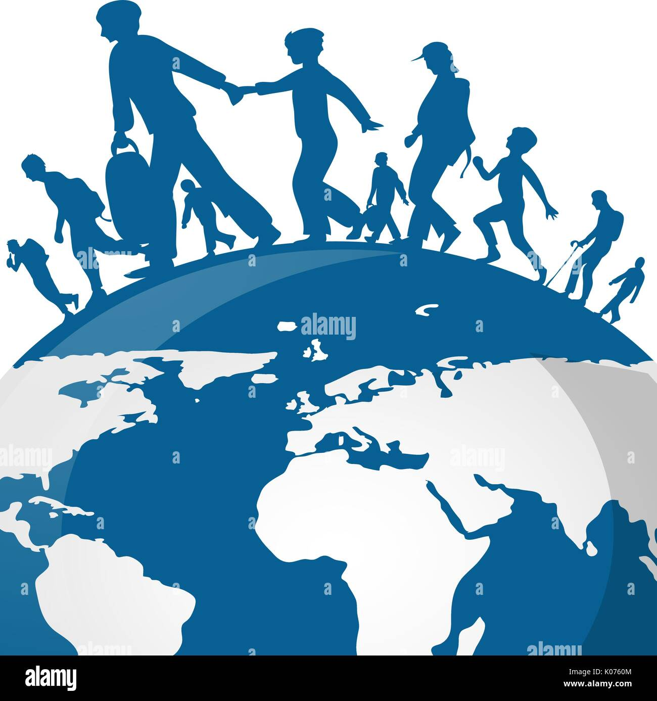 Immigration People On World Map Background Stock Vector