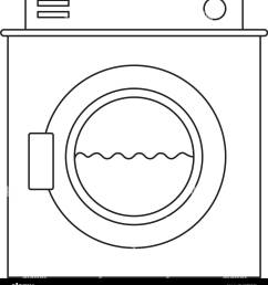 monochrome silhouette of washing machine with water medium level [ 1192 x 1390 Pixel ]