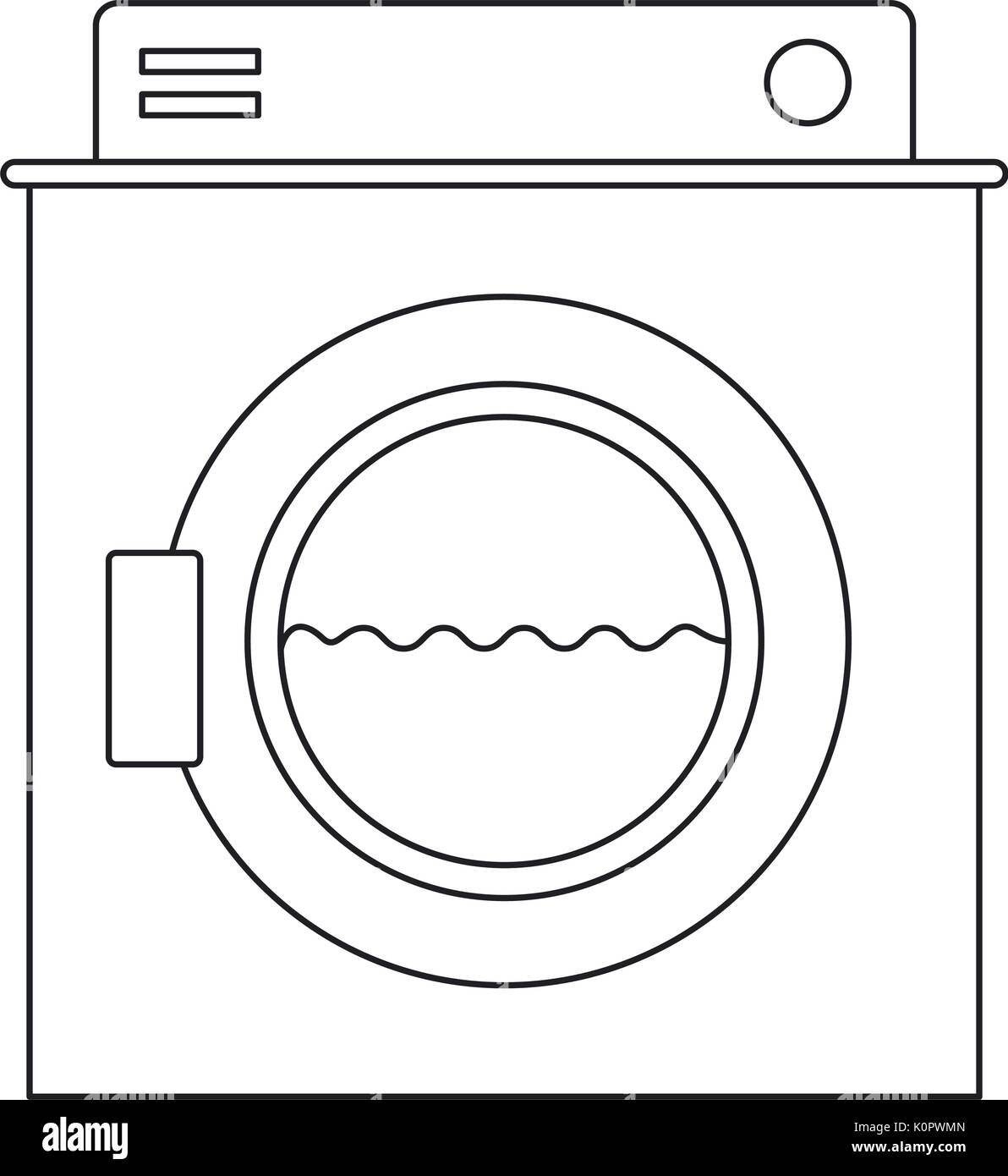 hight resolution of monochrome silhouette of washing machine with water medium level