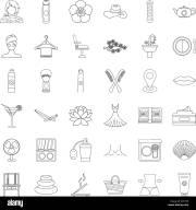 beauty salon icons set outline