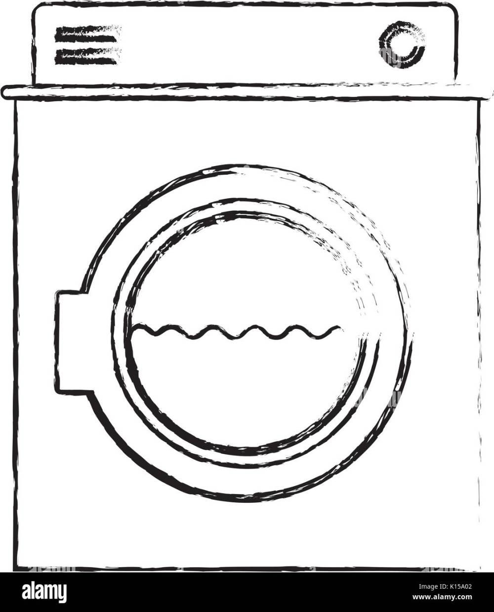 medium resolution of monochrome blurred silhouette of washing machine with water medium level