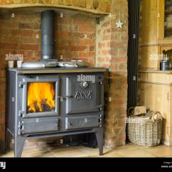 Cast Iron Kitchen Stove Pantry Shelves Stock Photos And