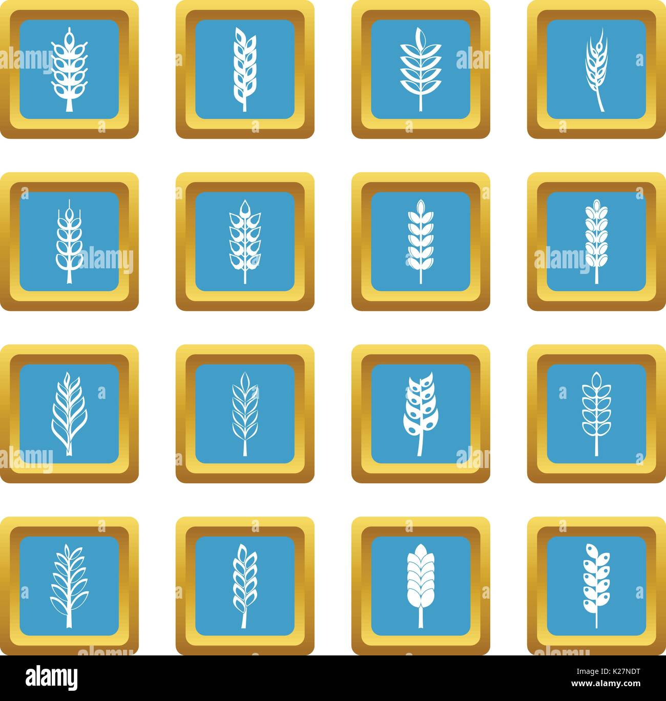 hight resolution of ear corn icons azure stock vector