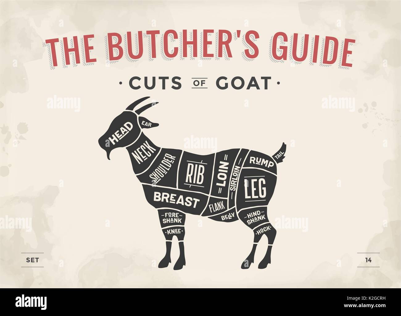 hight resolution of poster butcher diagram scheme goat