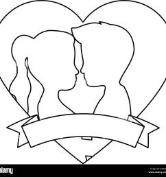 cute couple in love silhouette kissing vector illustration design [ 1300 x 1256 Pixel ]