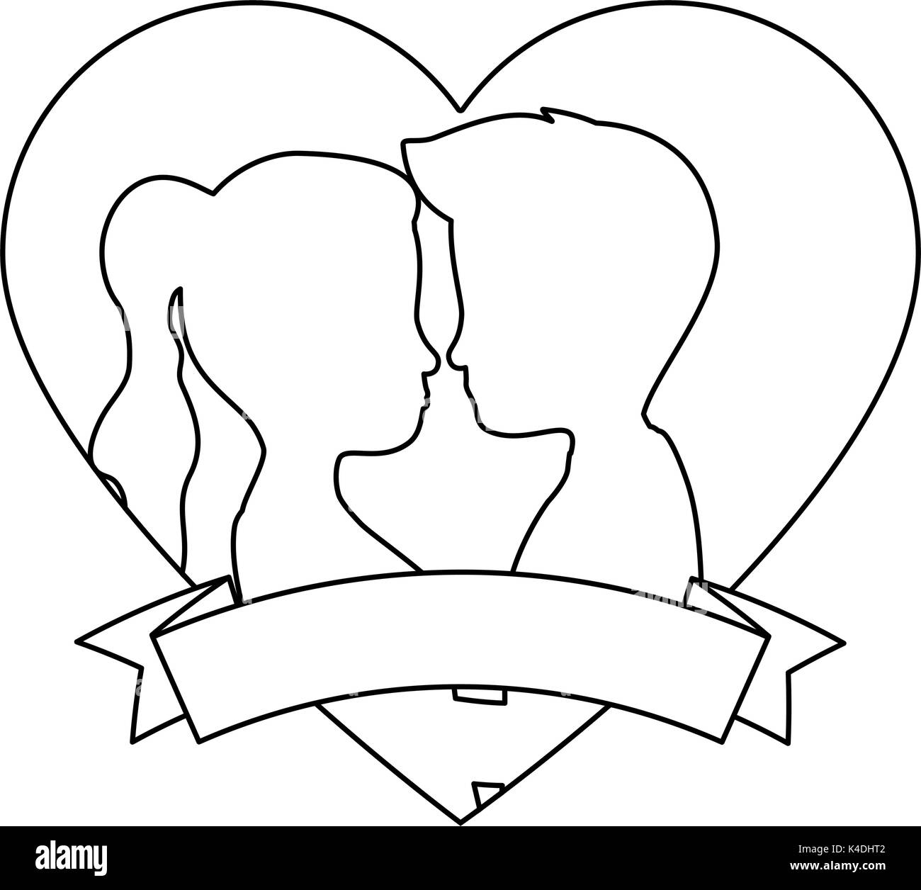 hight resolution of cute couple in love silhouette kissing vector illustration design
