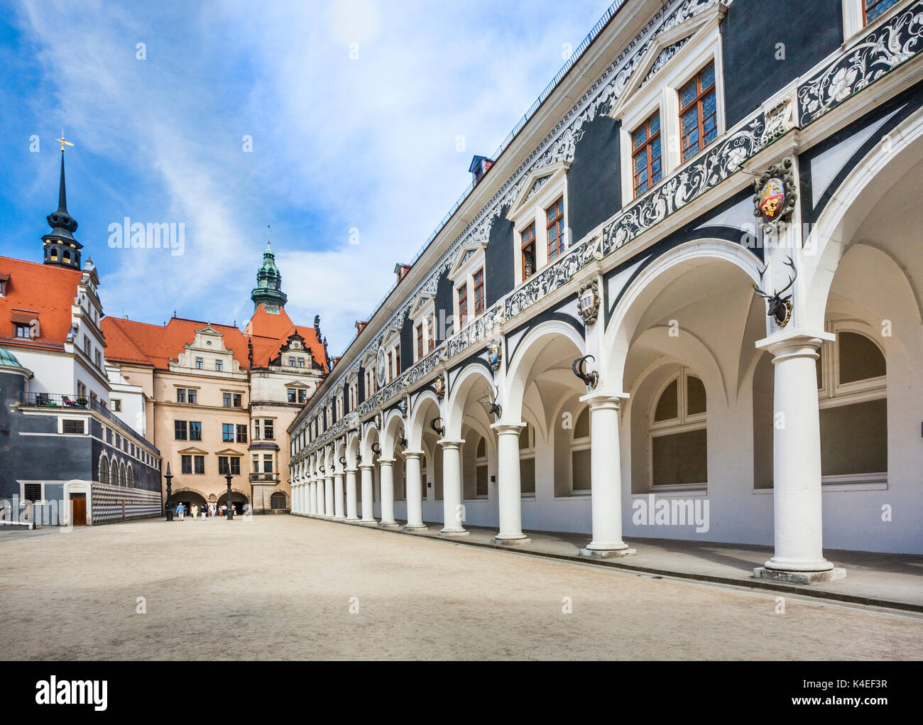 Germany Saxony The Long Arcade In The Stable Courtyard Of