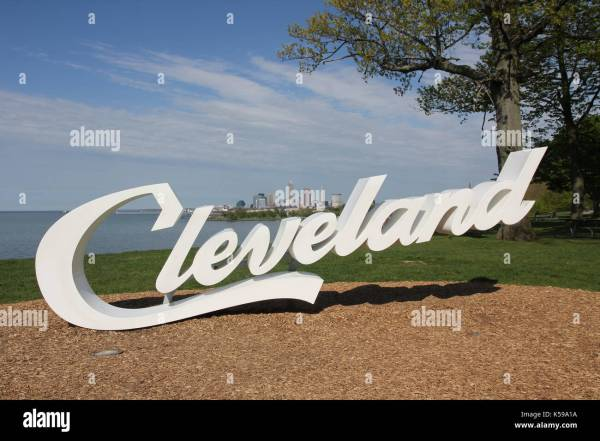 Cleveland Sign With Skyline And Lake Erie In Background