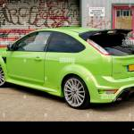 Lime Green Ford Focus Rs Against A Graffiti Covered Wall Stock Photo Alamy