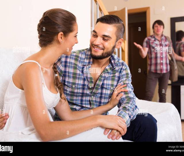 Upset Adult Discovering Cheating Girlfriend At Home