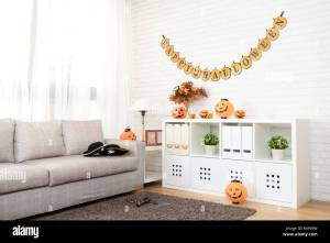 Empty No People Living Room With Halloween Decoration For