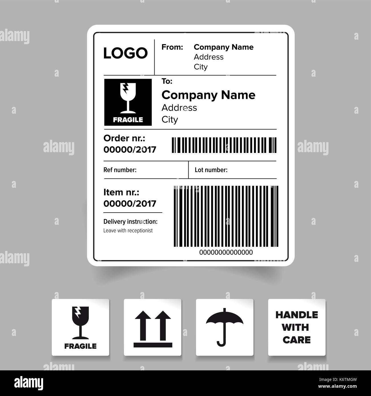 Fragile Sticker Black And White Stock Photos Images Alamy