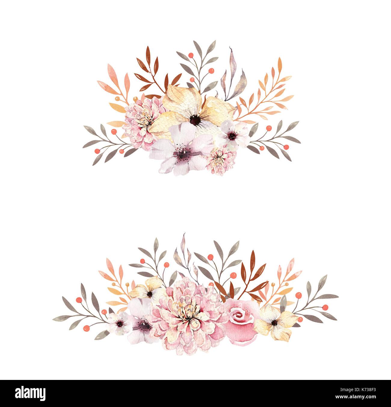 Autumn Falling Leaves Live Wallpaper Set Of Watercolor Boho Floral Bouquets Watercolour