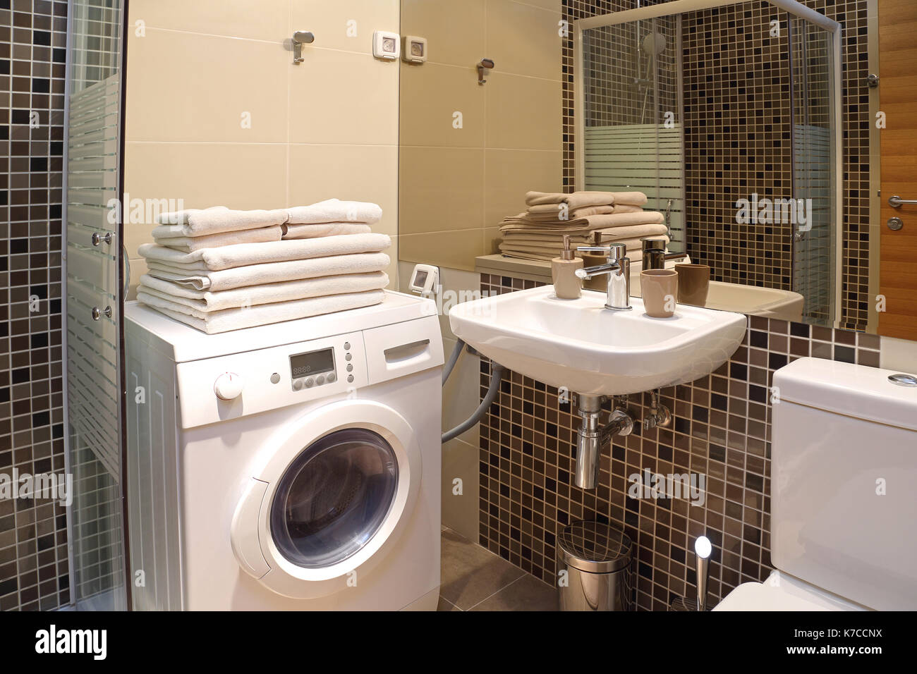 Modern Small Bathroom Modern Small Bathroom With Washing Machine Stock Photo 159469350