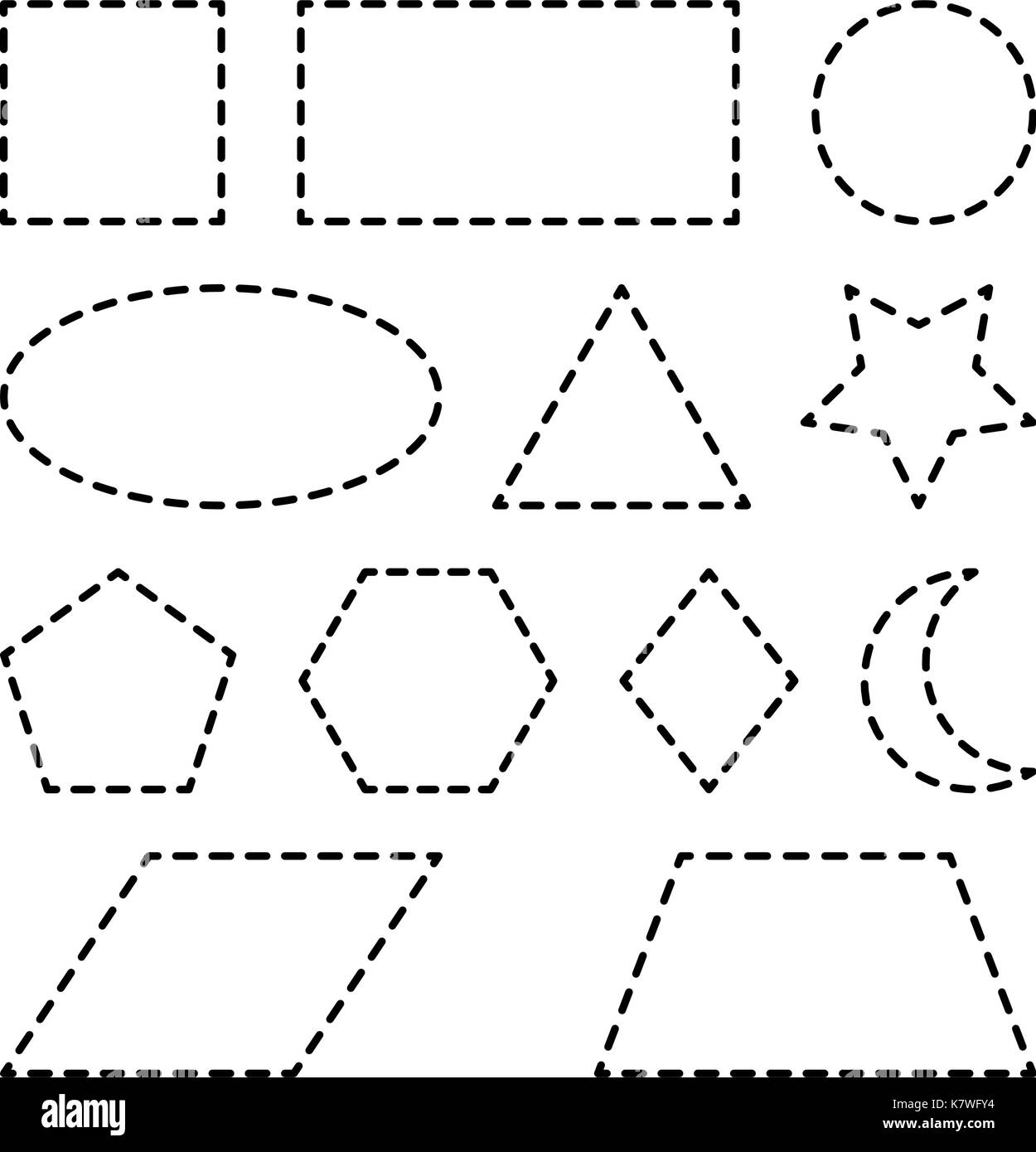 Geometric Shapes Square Circle Oval Triangle Hexagon