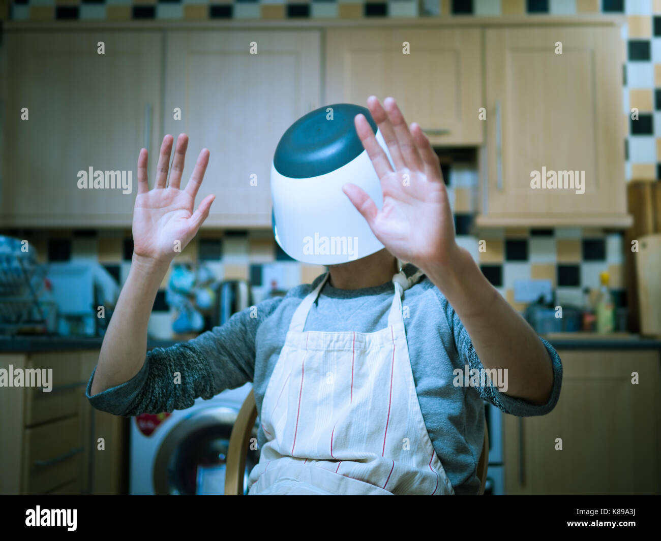 kitchen simulator decor yellow man using mixing bowl instead virtual reality in the stock