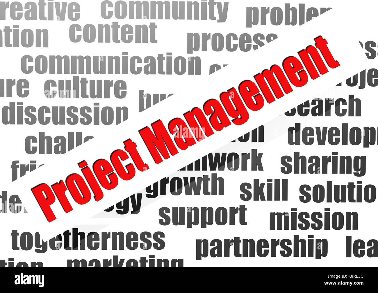 Project Management Word Cloud Stock Photo