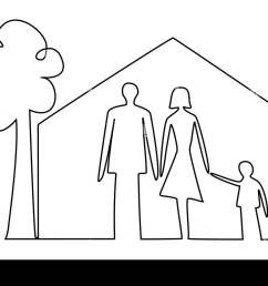 family home one line drawing [ 1300 x 980 Pixel ]