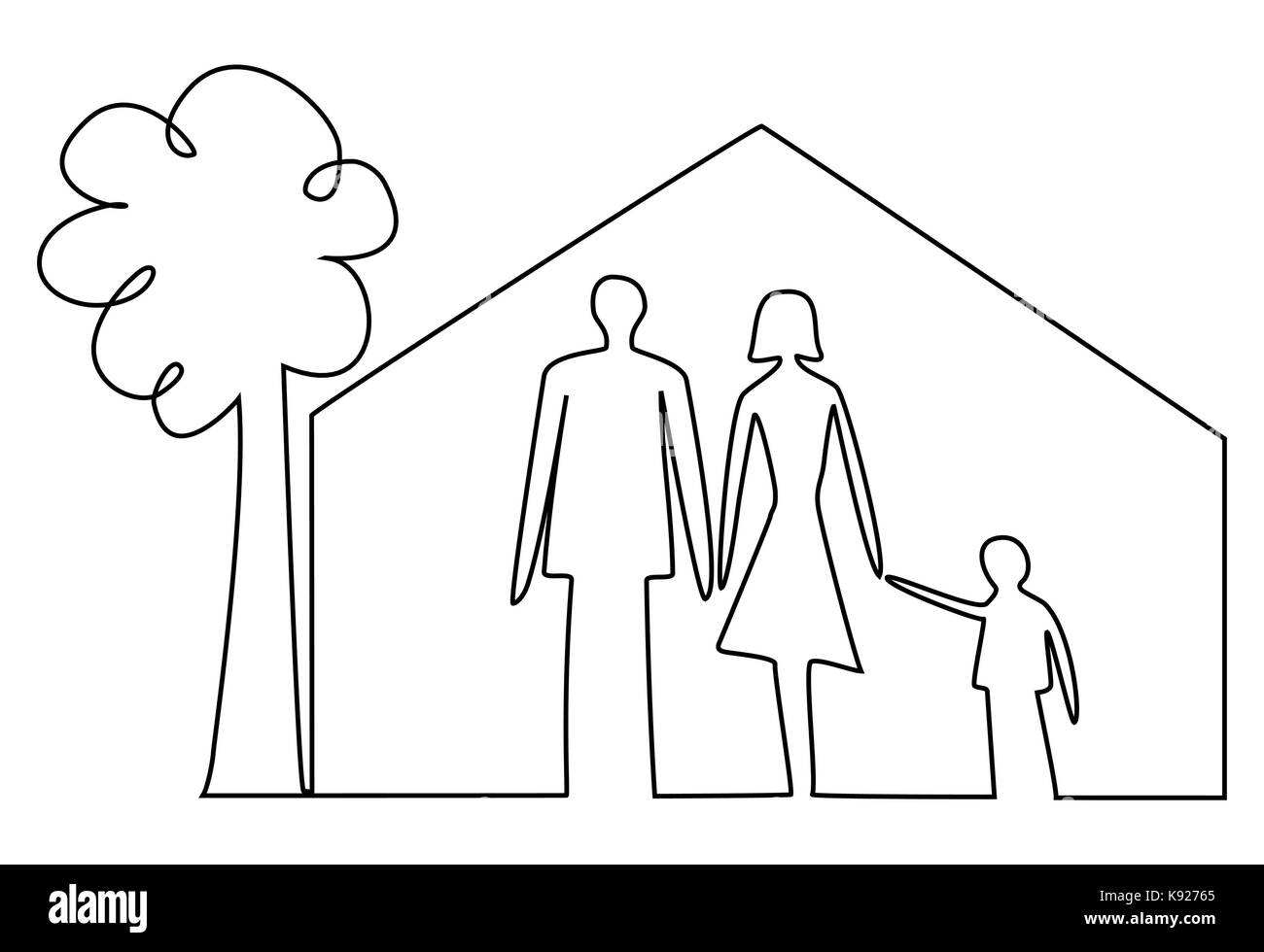 hight resolution of family home one line drawing