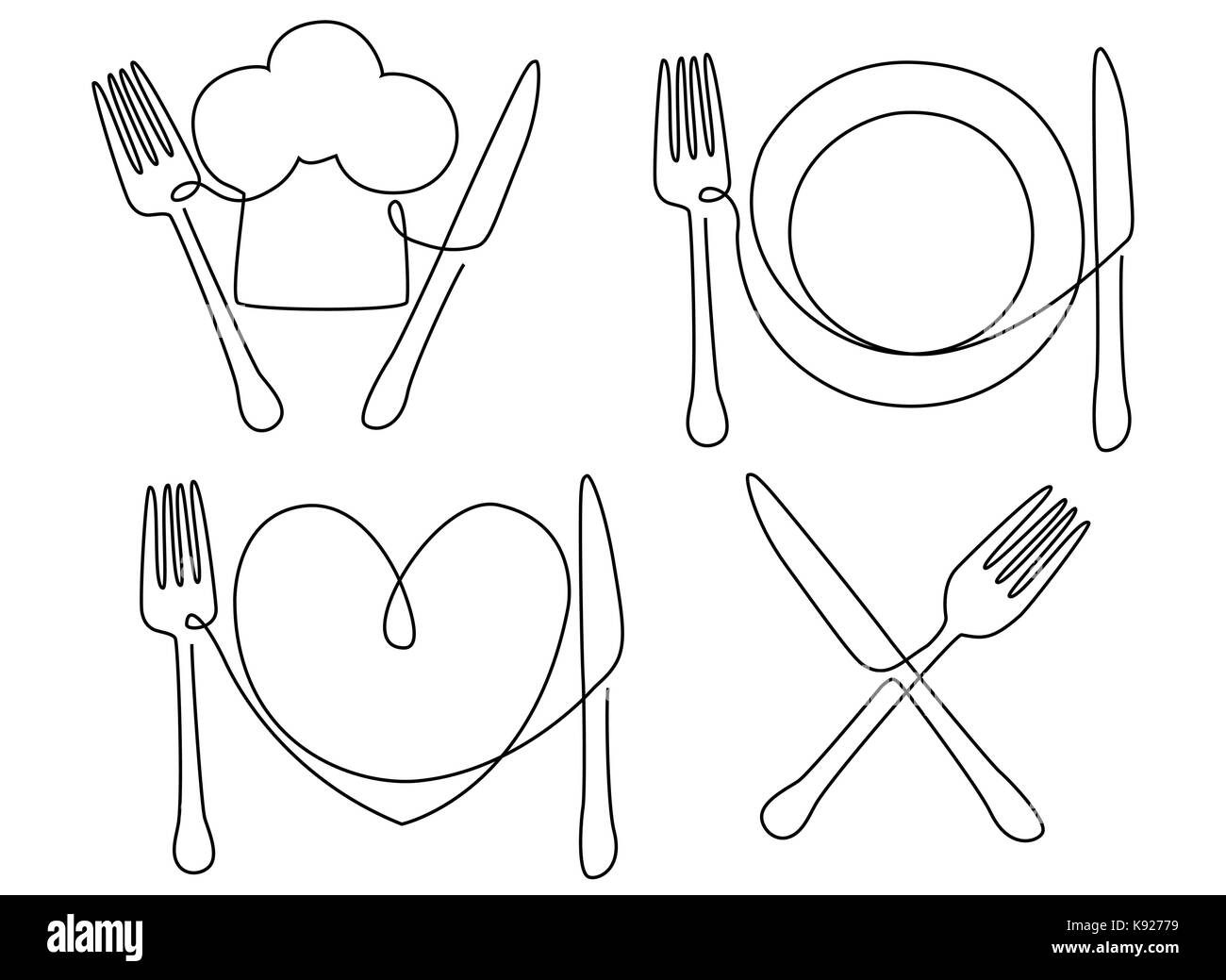 hight resolution of cultery and plate one line drawing