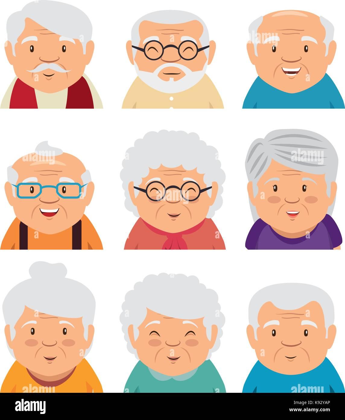 hight resolution of set of grandparents face vector illustration graphic design