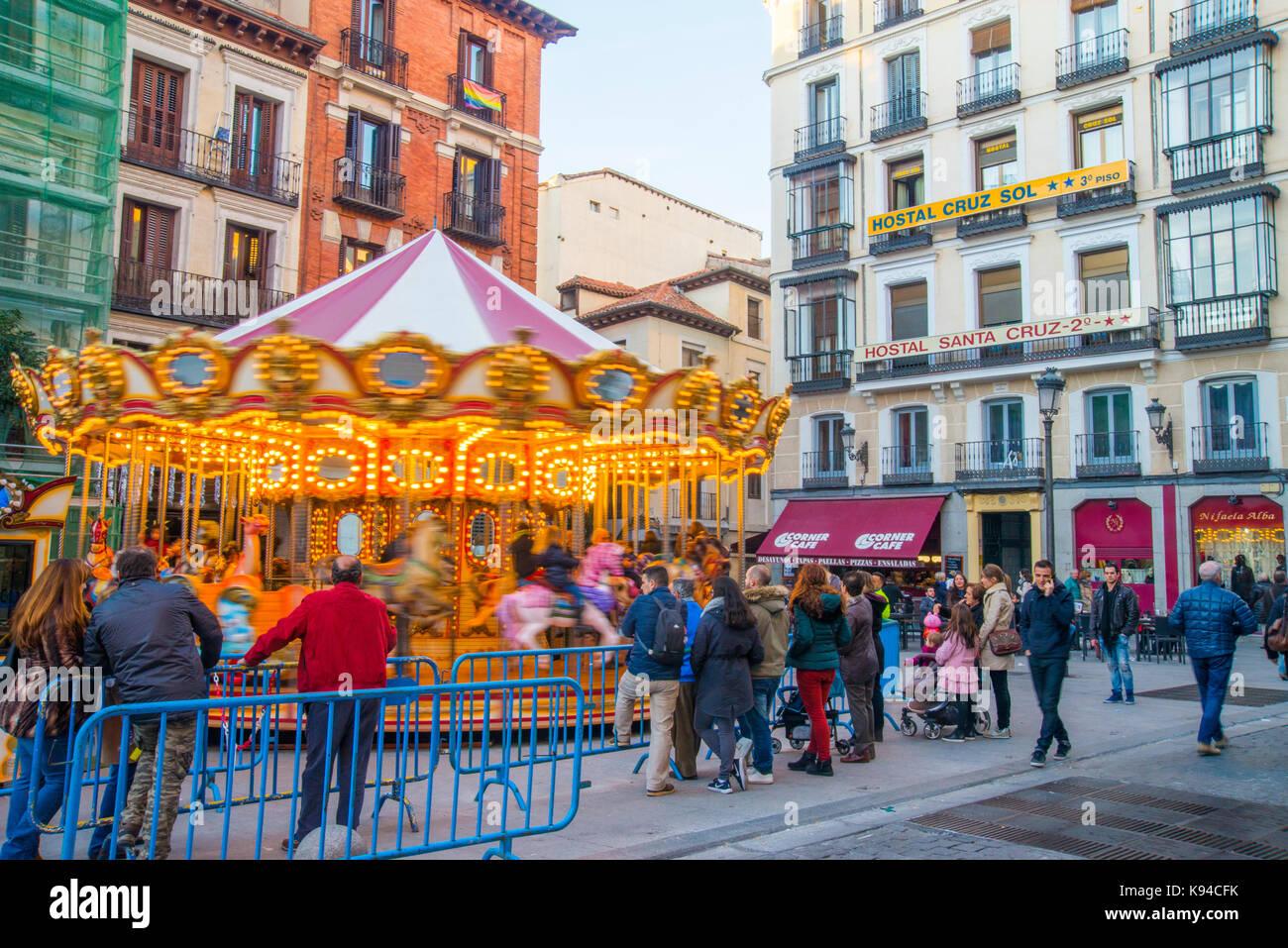 Carousel At Christmas Time Santa Cruz Square Madrid Spain