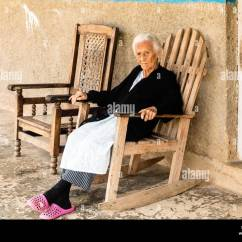 Old Lady Chair Desk Lumbar Pillow Woman Rocking Stock Photos And