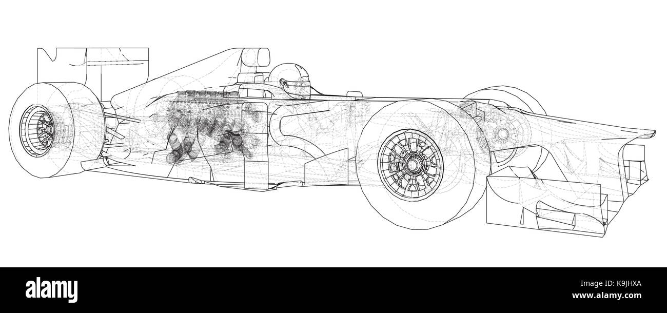 hight resolution of model formula 1 car wire frame eps10 format vector rendering of 3d