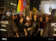 Protesters Shout Slogans Police Stock