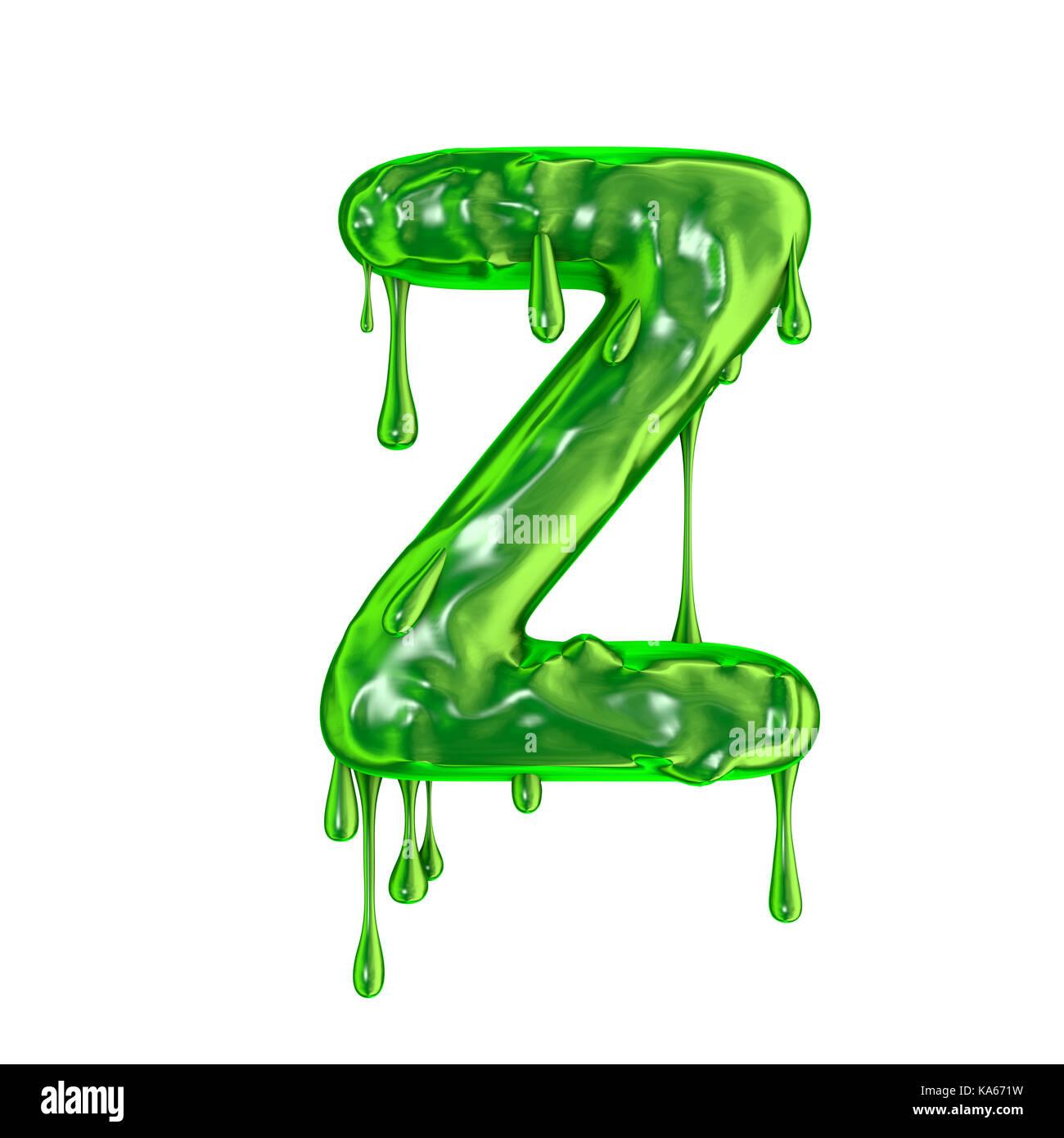 Green Dripping Slime Halloween Capital Letter Z Stock