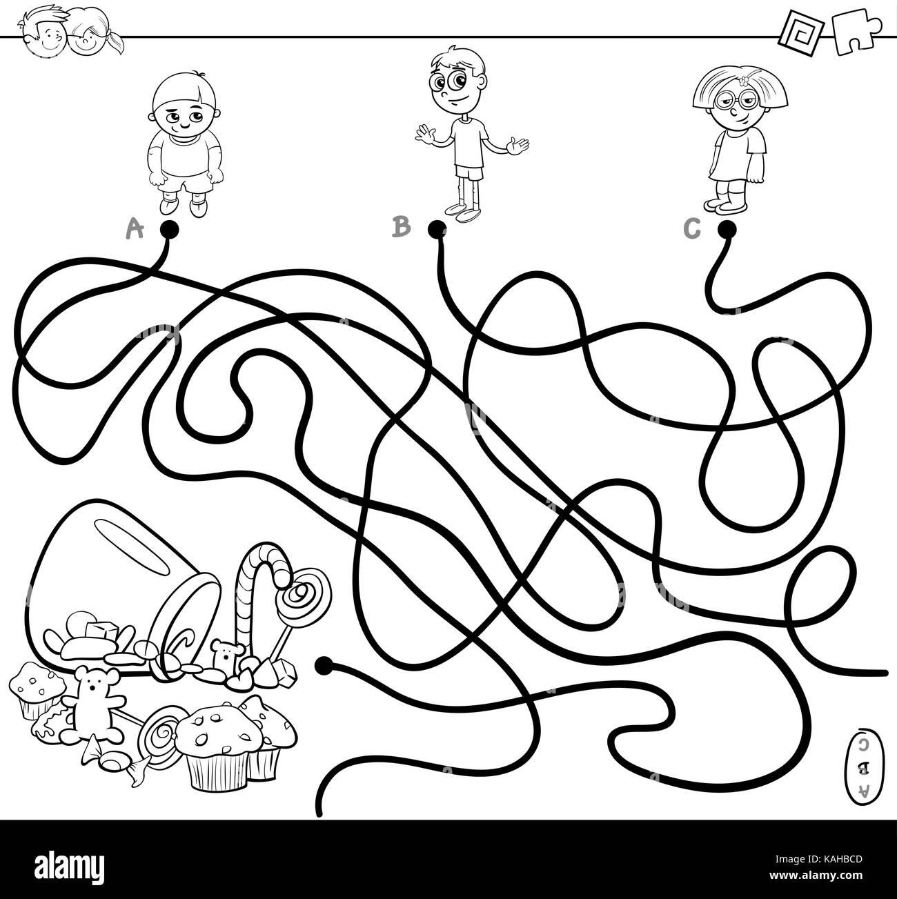 Black White Cartoon Illustration Paths Stock Photos