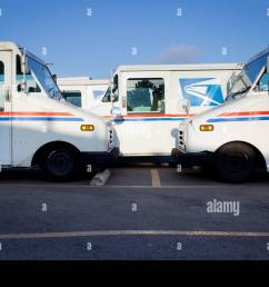 grumman llv long life vehicle mail trucks parked at the post office in clairemont [ 1300 x 956 Pixel ]
