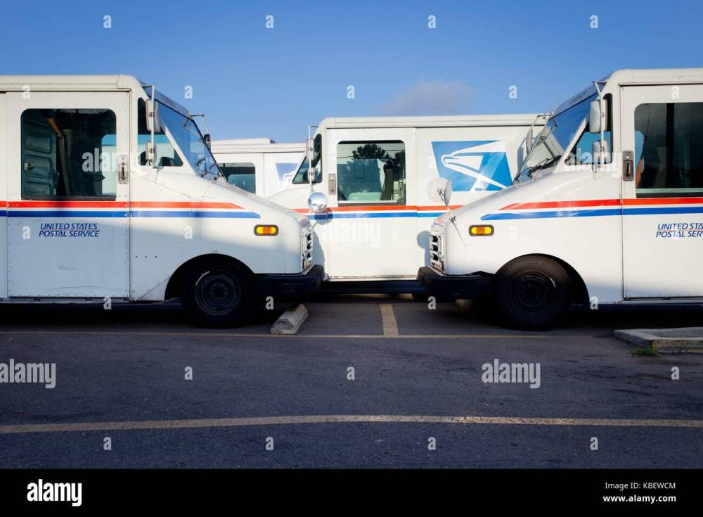 medium resolution of grumman llv long life vehicle mail trucks parked at the post office in clairemont