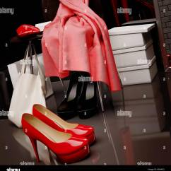 Red Heel Chair Round Patio Table 6 Chairs Louboutin Heels Stock Photos And