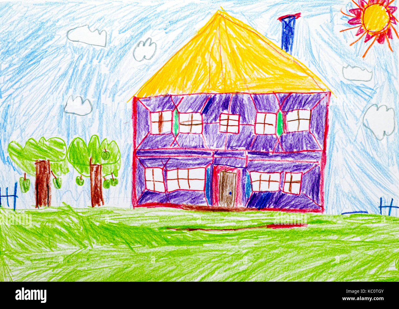 Kids Drawing House Stock Photos Amp Kids Drawing House Stock Images