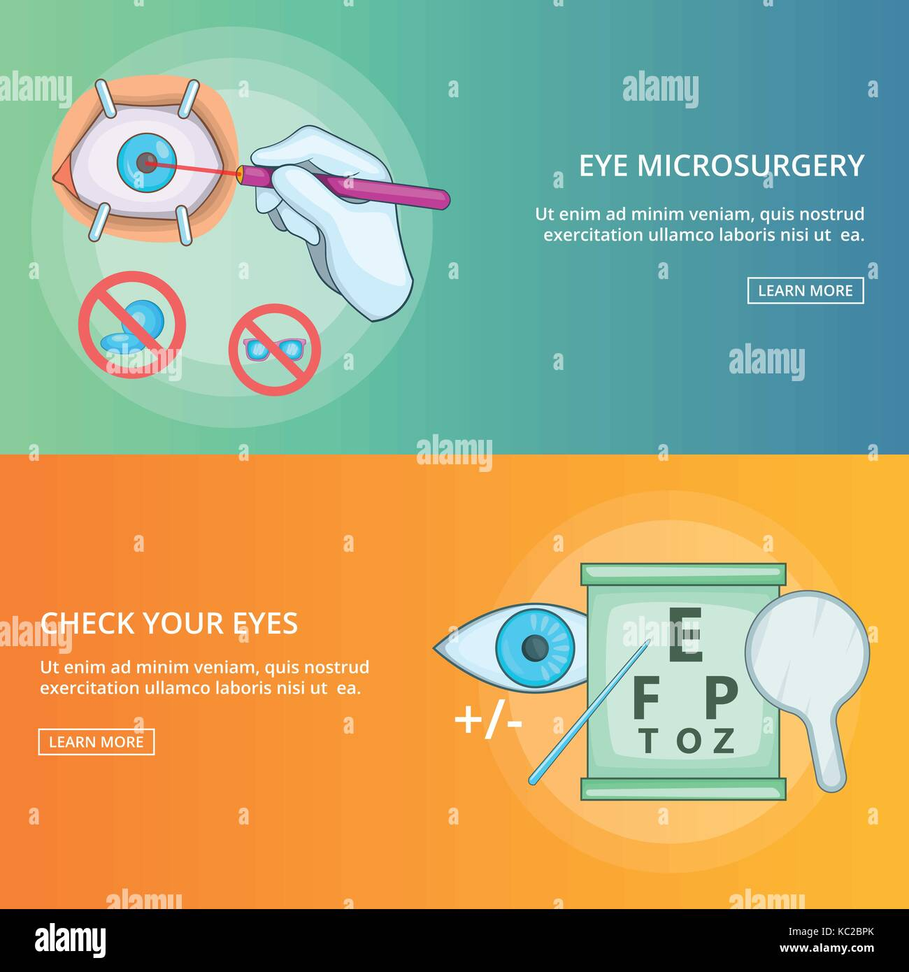 hight resolution of eye microsurgery banner set template cartoon style stock vector